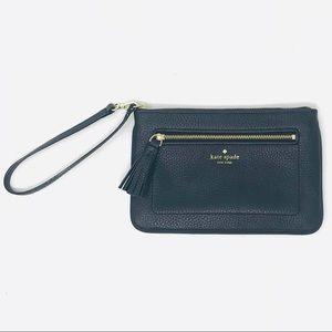 ♠️Kate spade black leather clutch handbag